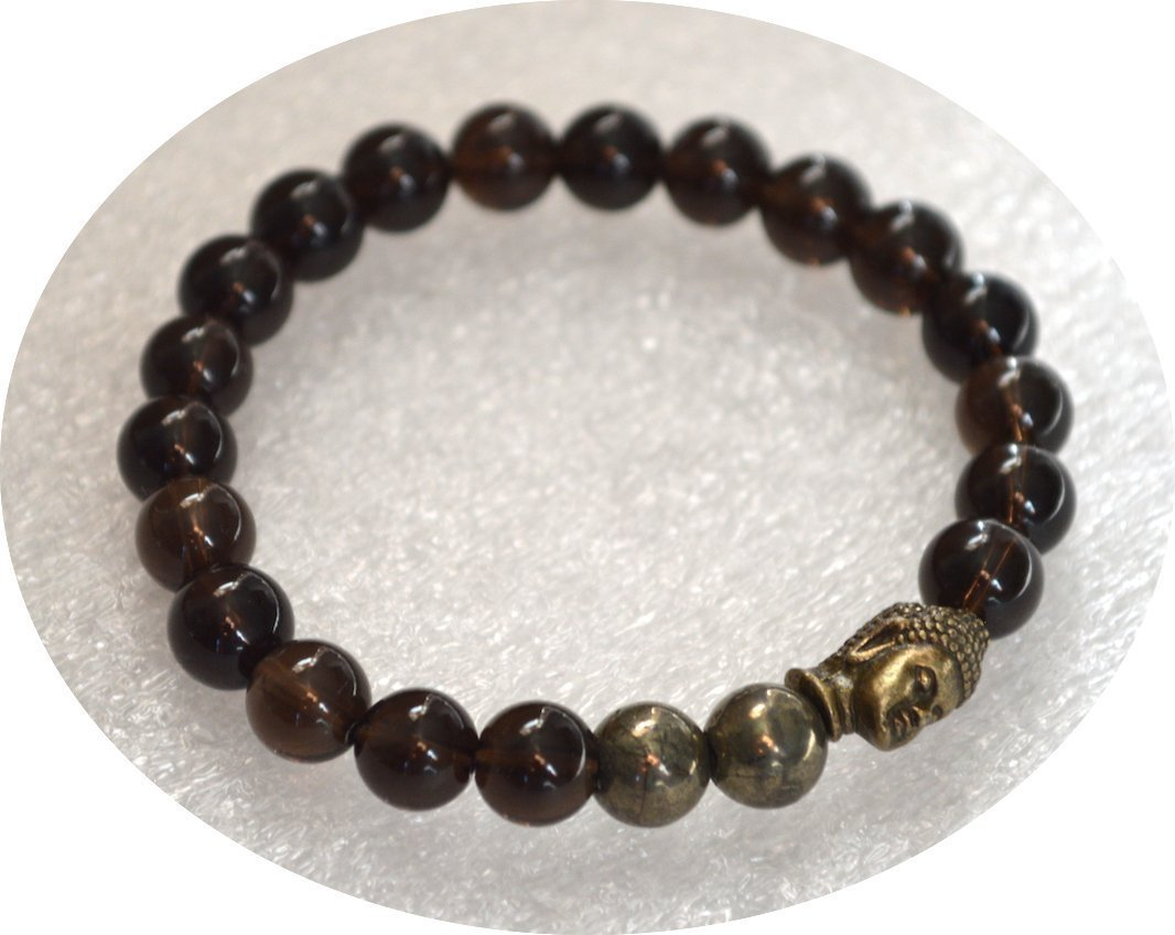 Reiki Healing Stretch Bracelet buddhist 8 mm Mala beads Golden Iron Pyrite Buddha Smoky Quartz Crystal Yoga Jewelry Tibetan US Seller Energized Powerful Wrist bracelet