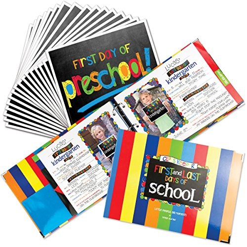 (School Memory Book Keepsake Album for Kids Memories with Pockets Every Grade Bundle with First Day and Last Day of School Signs Photo Prop (Preschool-College))