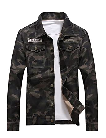 56ce463d1a8 Idopy Men`s Slim Fit Military US Army Camouflage Denim Jacket at ...