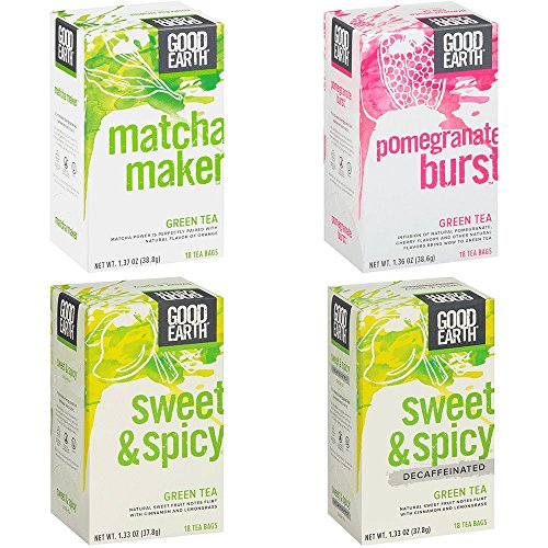 Good Earth Green Tea, 4 Flavor Variety Pack, 18 Tea Bags, 4 Count (Packaging May Vary)