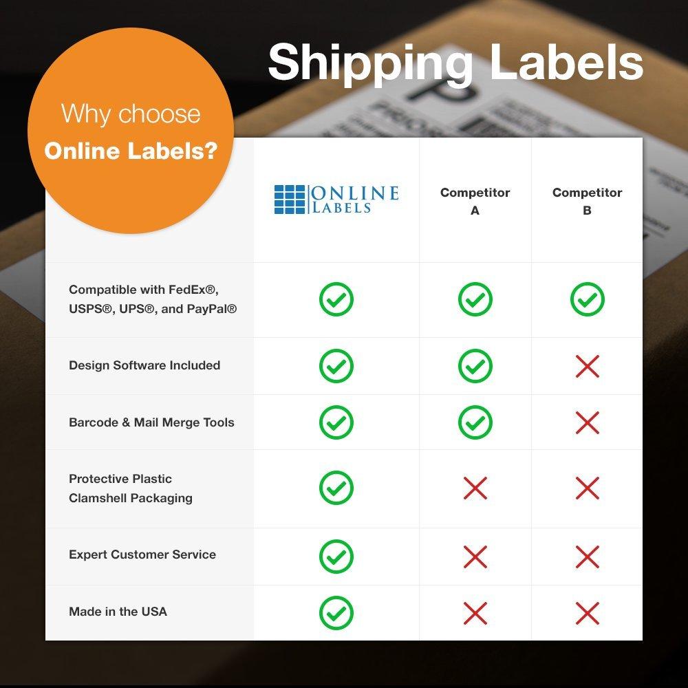 Online Labels - 4'' x 2'' Shipping Labels - Pack of 1,000 Labels, 100 Sheets - Inkjet/Laser Printer