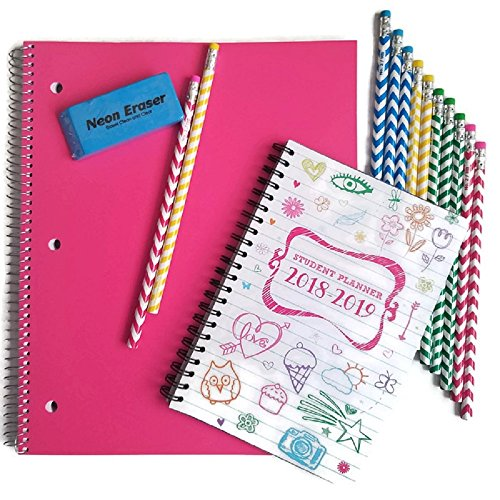 Back to School Supplies for Teen Girls Includes Notebook, Student Planner, Pencils and Eraser, Bundle of 4 by Unknown