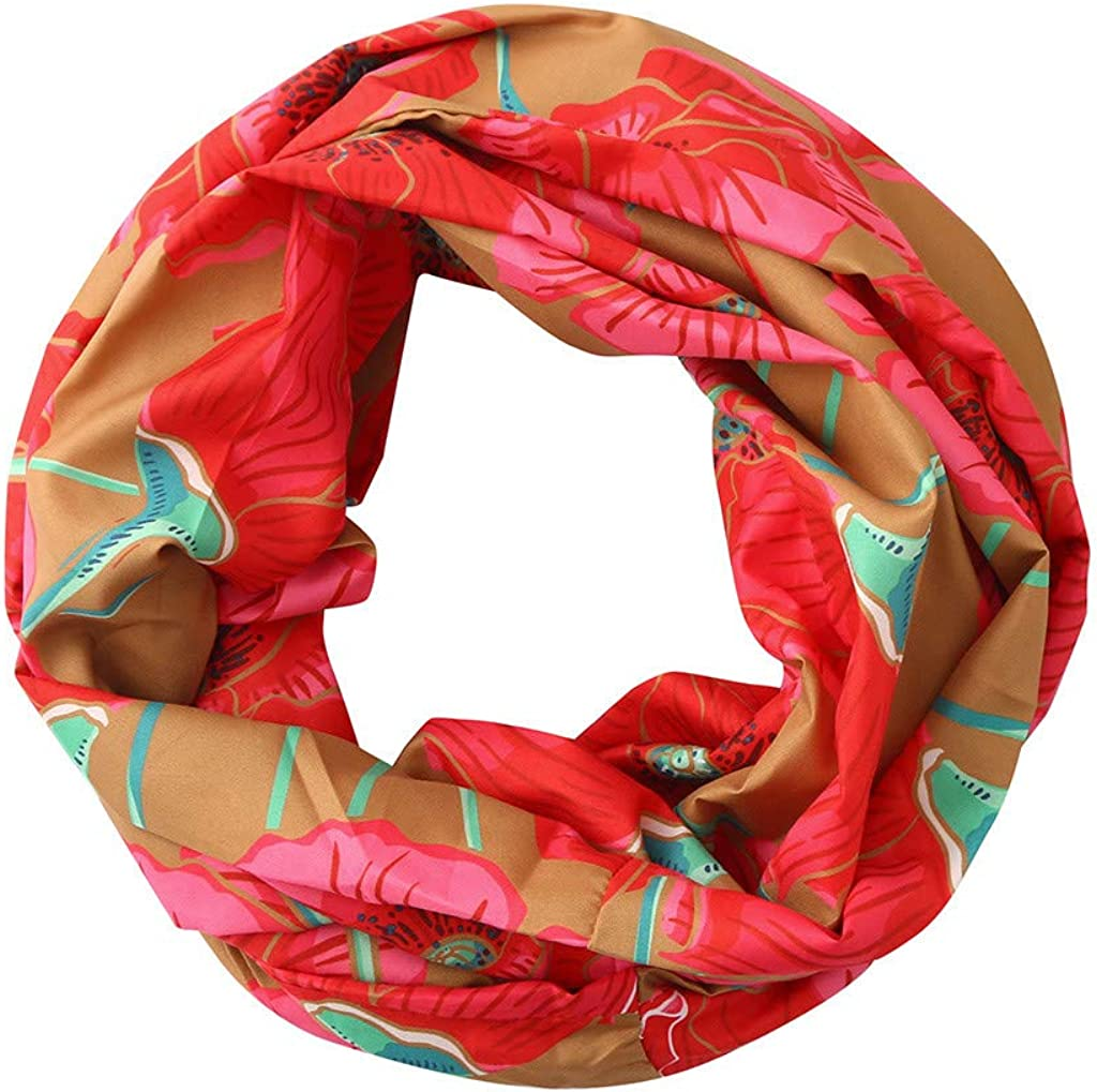 Jonecal Women Fashion Printing Loop Infinity Scarf With Zip Pocket