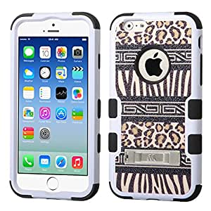 "[ Apple iPhone 6 (4.7"""") ] ToPerk (TM) Graphic Tuff Dual Layer Armor Case with Kick Stand & Stylus Pen As Bundle Sale - Zebra Skin-Leopard Skin/Black"