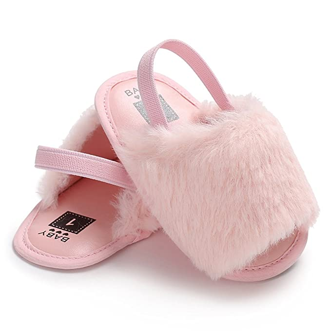 Amazon.com: Decdeal Cute Baby Girls Soft Sole Non-Slip Summer Faux Fur Sandal Fluffy Slippers, First Walkers Baby Shoes, 6 Color, 3 Size(11-13 cm): Home & ...