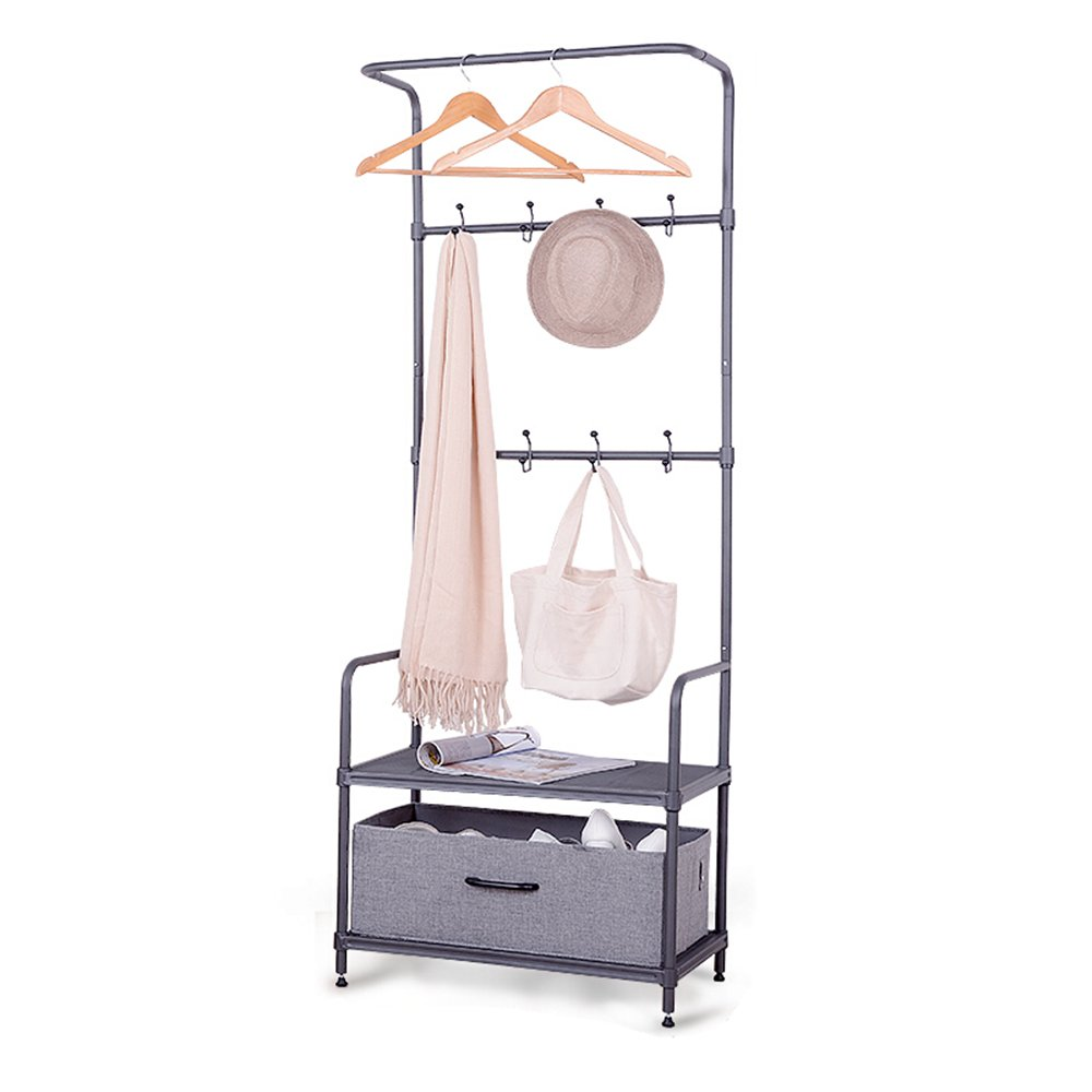 Floor coat rack / Entrance hallway / Multi-purpose storage rack / double shelves Shoe rack / combination coat rack (60 35 176cm)
