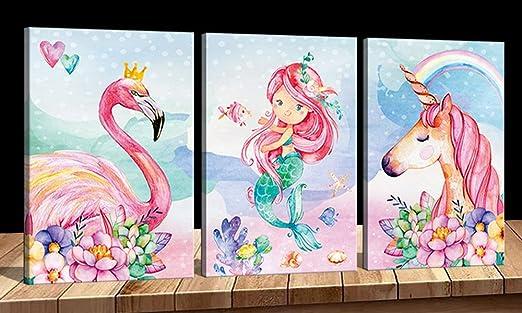 Amazon Com Unicorn Wall Decor Mermaid Flamingo Inspirational Framed Wall Art Prints Pink Horse Flower For Living Room Girls Room Decoration Pink Home Wall Decoration Girls Room Kids Bedroom Gift 3 Panels Posters