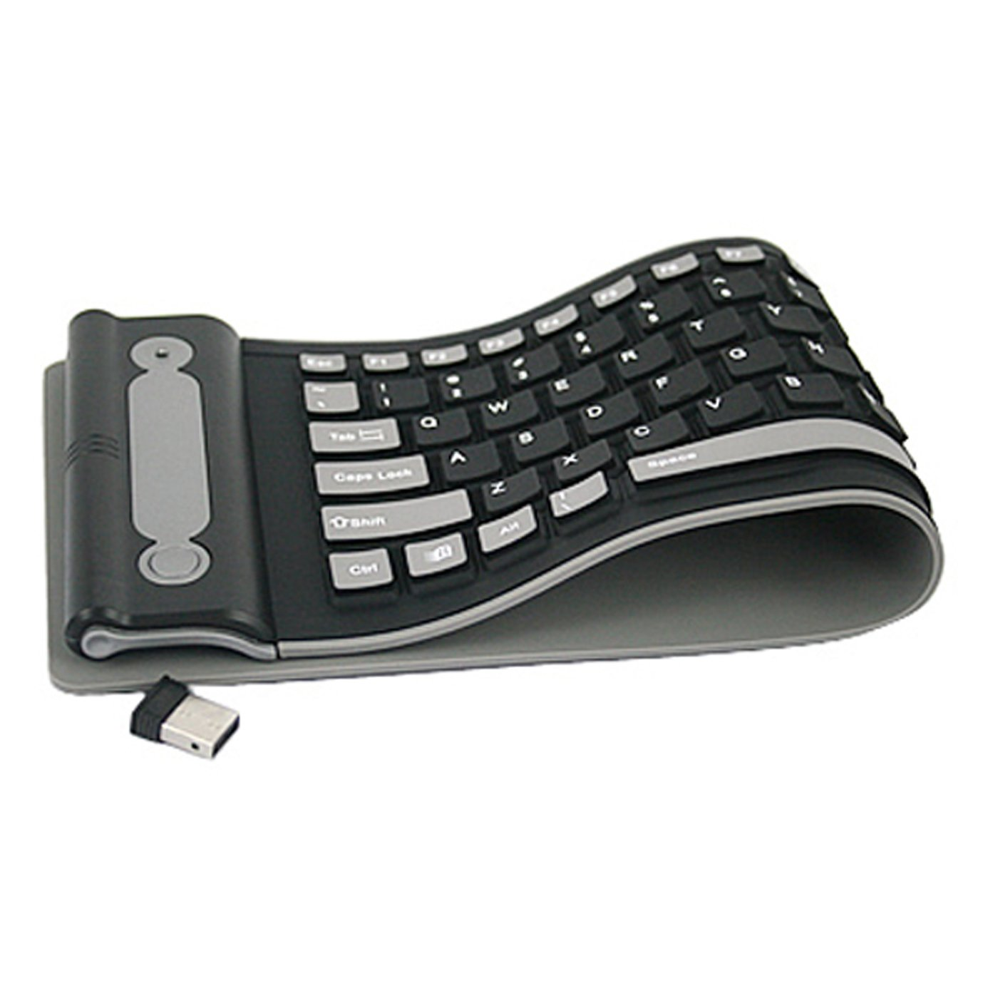 HDE Wireless Spillproof Roll Up Portable Folding Pocket Silent Typing Silicone Keyboard HDE-X65-NEW