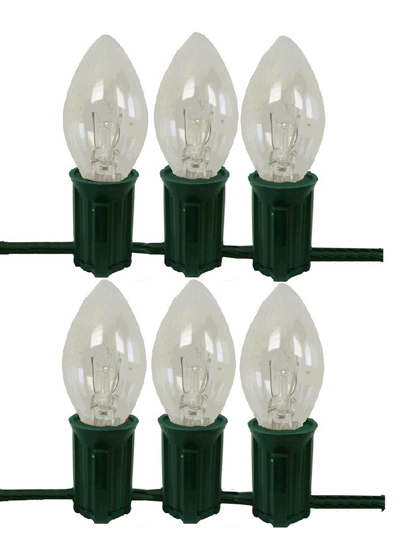 Indoor or outdoor c7 clear lights sets with green wire c7tbk clear amazon com