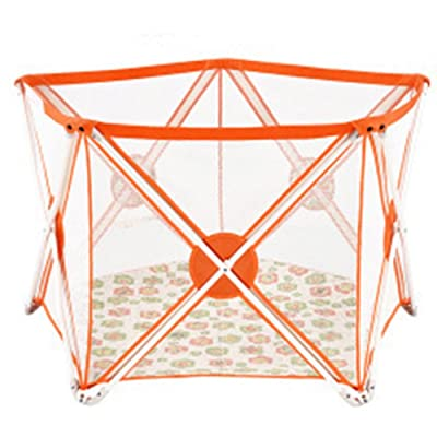 Small Baby Playpen Orange Folding Portable Activity Center Outdoor Indoor Home 5 Panel Playard Kids (Color : Orange)