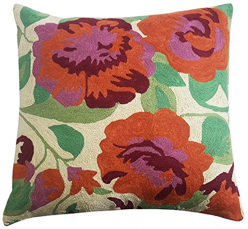 """Mehrunnisa (16""""X16"""") Exclusive Hand Embroidered Crewel Work Cushion Cover From Kashmir (Crewel Bedding)"""