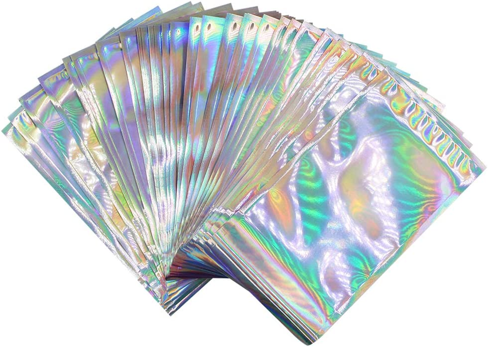 Holographic Aluminum Foil Self-Adhesive Bag Food Grade Stoarge Pouches Snack Accessories Gift Package Bag (50Pcs, 6.5 x 4.5in + 1.6in)