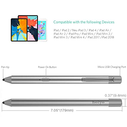 Heiyo Active Pen For iPad, Capacitive iPad Pencil 40-Hour Working Time  30-Day Stand by, Auto Power Off iPad Stylus Compatible with iPad  Pro/Air/Mini,