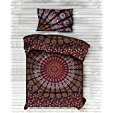 """Indian Art Cotton Duvet Covers By """"Handicraftspalace"""" , Peacock Mandala Duvet Cover Twin size Hippie Quilt Doona Cotton Cover Throw Bohemian Gypsy"""