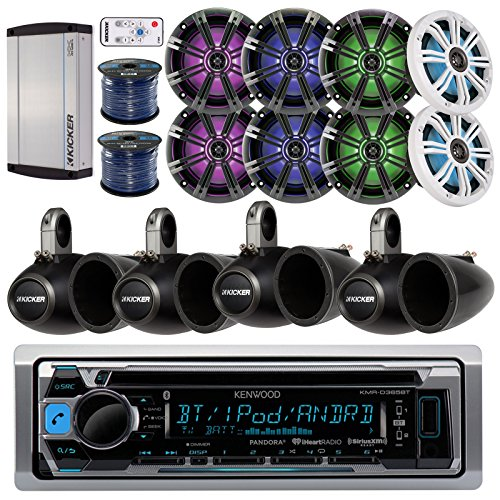 "Kenwood KMRD365BT Marine CD Bluetooth Stereo Receiver Bundle Combo W/ 8x 6.5"" 195-Watt LED Coaxial Speaker With Remote Controller + 8x Empty Tower Enclosures + Amplifier + Enrock 100Ft Speaker Wire"