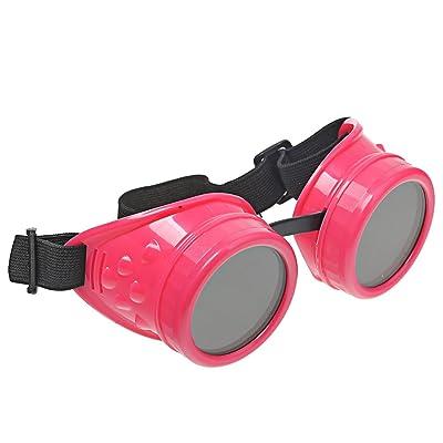 A-szcxtop Steampunk Lunettes de cyclisme Vent protéger l'œil Nécessaire Lunettes de protection soudage Goth Cosplay vintage Lunettes, rose