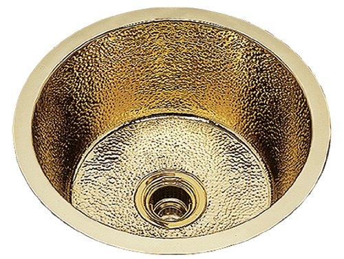 Bates B0475R.AB - LARGE ROUND PREP/BAR SINK. RIATTA PATTERN, UNDERMOUNT & DROP IN. KITCHEN COLLECTION & SCULPTURED METALS - PREP SINKS. FINISH: ANTIQUE BRASS