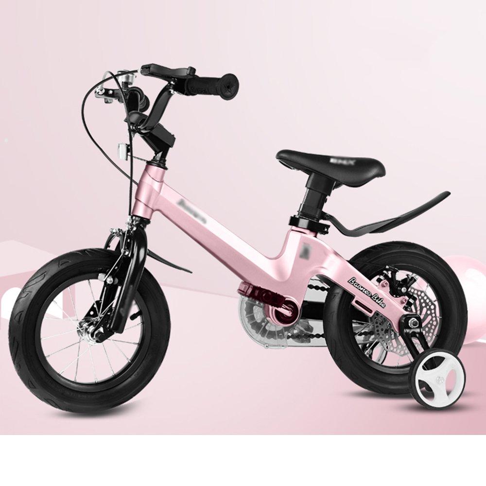 HAIZHEN マウンテンバイク 子供用自転車 トレーニングホイール付きの少年の自転車と少女の自転車 12インチ、14インチ、16インチ、18インチ 子供用ギフト 新生児 B07C6VBQC4 18 inches|ピンク ぴんく ピンク ぴんく 18 inches