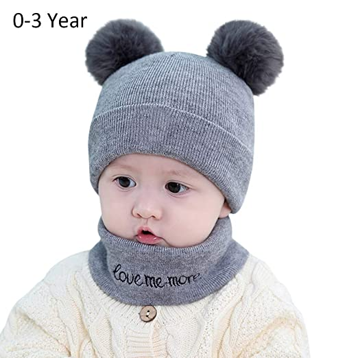3c7a71df4ba601 Toddler Infant Knit Hats Cozy Chunky Baby Beanies Soft Winter Warm Pom Cap  for Newborn Baby