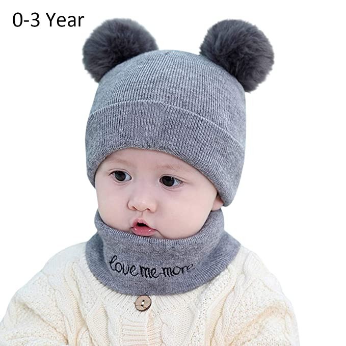 Toddler Infant Knit Hats Cozy Chunky Baby Beanies Soft Winter Warm Pom Cap  for Newborn Baby 823e3e541415