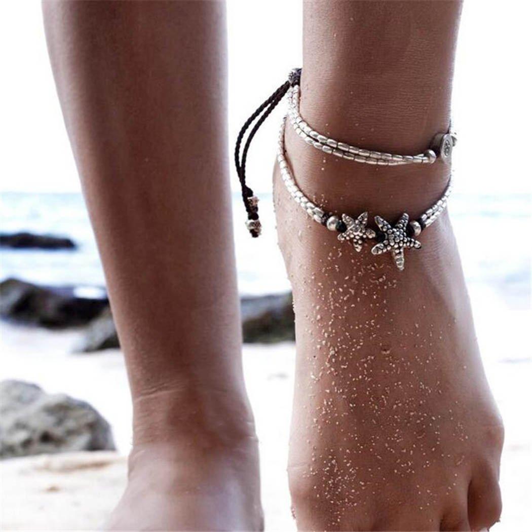 Silver 2Pcs Aukmla Rune Boho Starfish Anklet Foot Chain Vintage Ankle Bracelet for Women Barefoot Sandal Beach Jewelry Adjustable