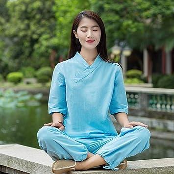 CYJJJK Pantalones de Yoga Lino Conjuntos de Yoga ...