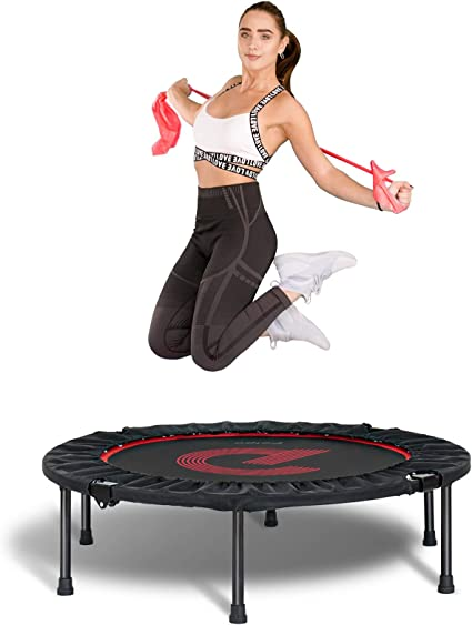 """Amazon.com: pelpo 38''/40""""/45'' Folding Mini Trampoline, Fitness Rebounder  with Safety Pad, Exercise Bounce for Adults Indoor/Outdoor Workout Max Load  330lb: Sports & Outdoors"""