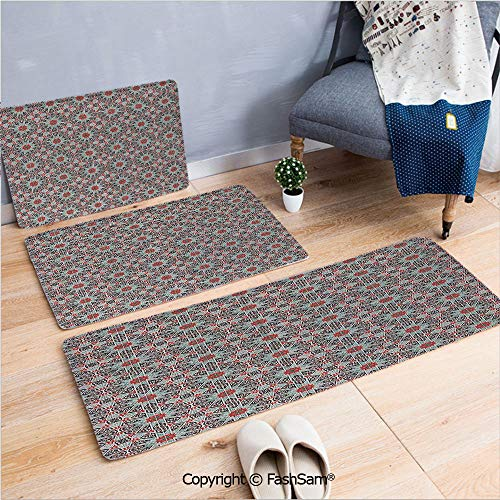 FashSam 3 Piece Non Slip Flannel Door Mat Ceramic Tile with East Pattern Heritage Oriental Tradition Culture Travel Ornate Indoor Carpet for Bath Kitchen(W15.7xL23.6 by W19.6xL31.5 by - Light Six Cast Ornate