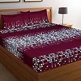 Shree Khatu Prints 144 TC Poly Cotton Double Bedsheet with 2 Pillow Covers - Multicolor