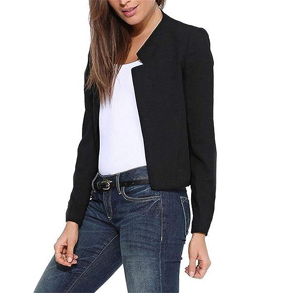 Amazon.com: Moda primavera otoño nuevo mujer abrigo corto ...