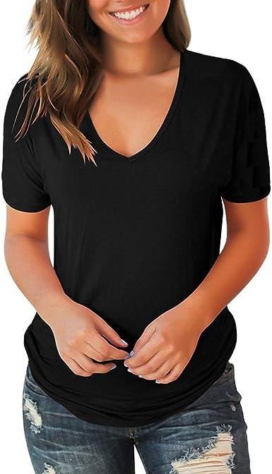 YEBIRAL Camisetas Mujer Verano Casual Elegantes Originales ...