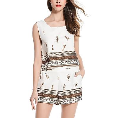 Mesdames Short Et T-Shirt Blouse Short Combinaison Plage Loose Bohemian Élégante Casual Été Débardeurs Et Shorts Set