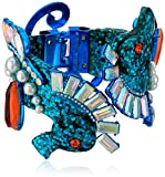 Betsey Johnson Women's Crabby Couture Blue Glitter Seahorse Hinge Cuff Bracelet, One Size