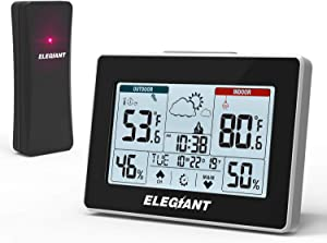 ELEGIANT Wireless Weather Station, Indoor Outdoor Thermometer Hygrometer with Sensor