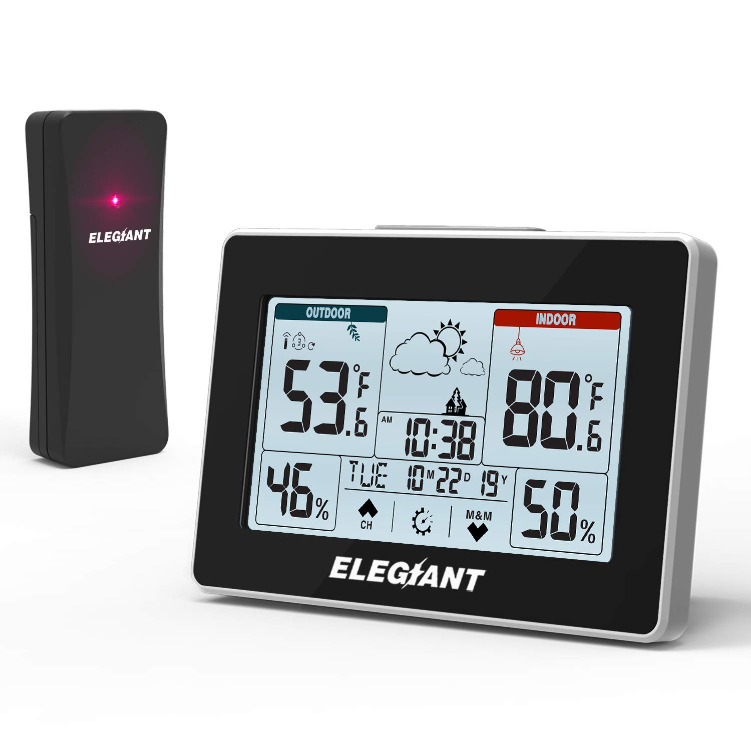 ELEGIANT Wireless Weather Station, Indoor Outdoor Thermometer Hygrometer with Sensor, LCD Touch Screen, Digital Temperature Humidity Monitor, Weather Forecast, Time & Date(7 Language), 3 Channels