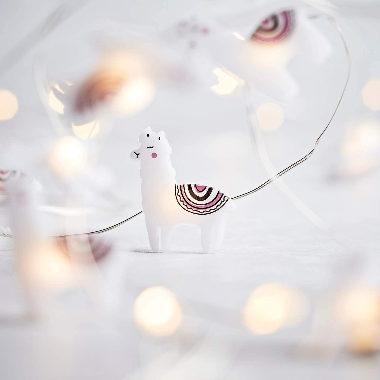 Lights4fun, Inc. 20 Llama Battery Operated Micro LED Indoor Silver Wire String Lights