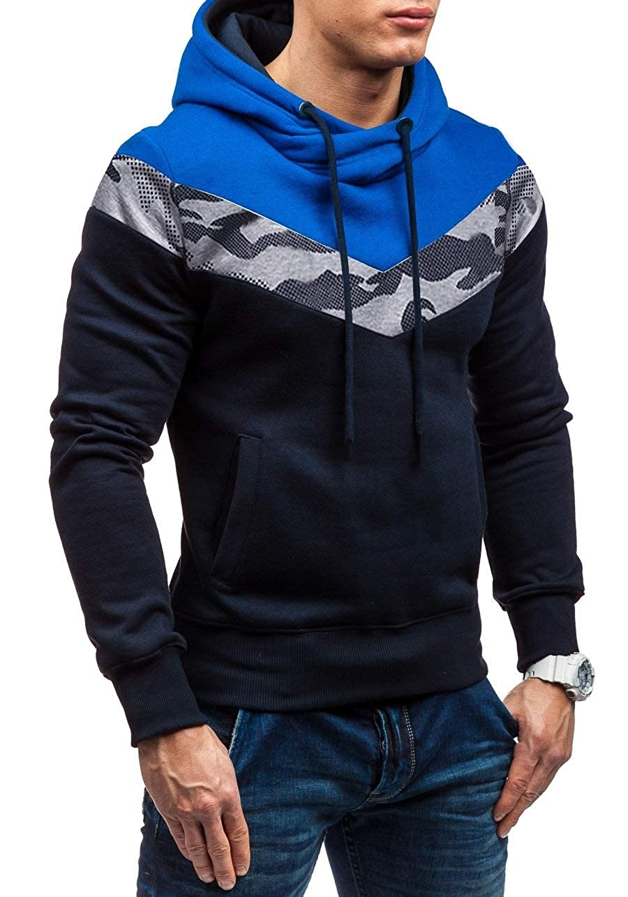 YUNY Men Camouflage Pullover Spell Color Hooded Sweatshirts Outwear Navy Blue L