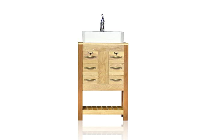 Amazoncom Small 23 Reclaimed Wood Bath Vanity Cabinet Vessel Sink