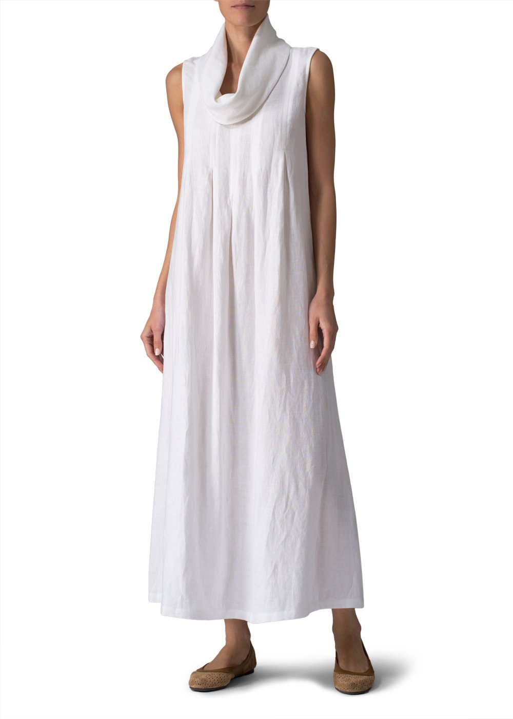Vivid Linen Sleeveless Cowl Neck Long Dress-S-White