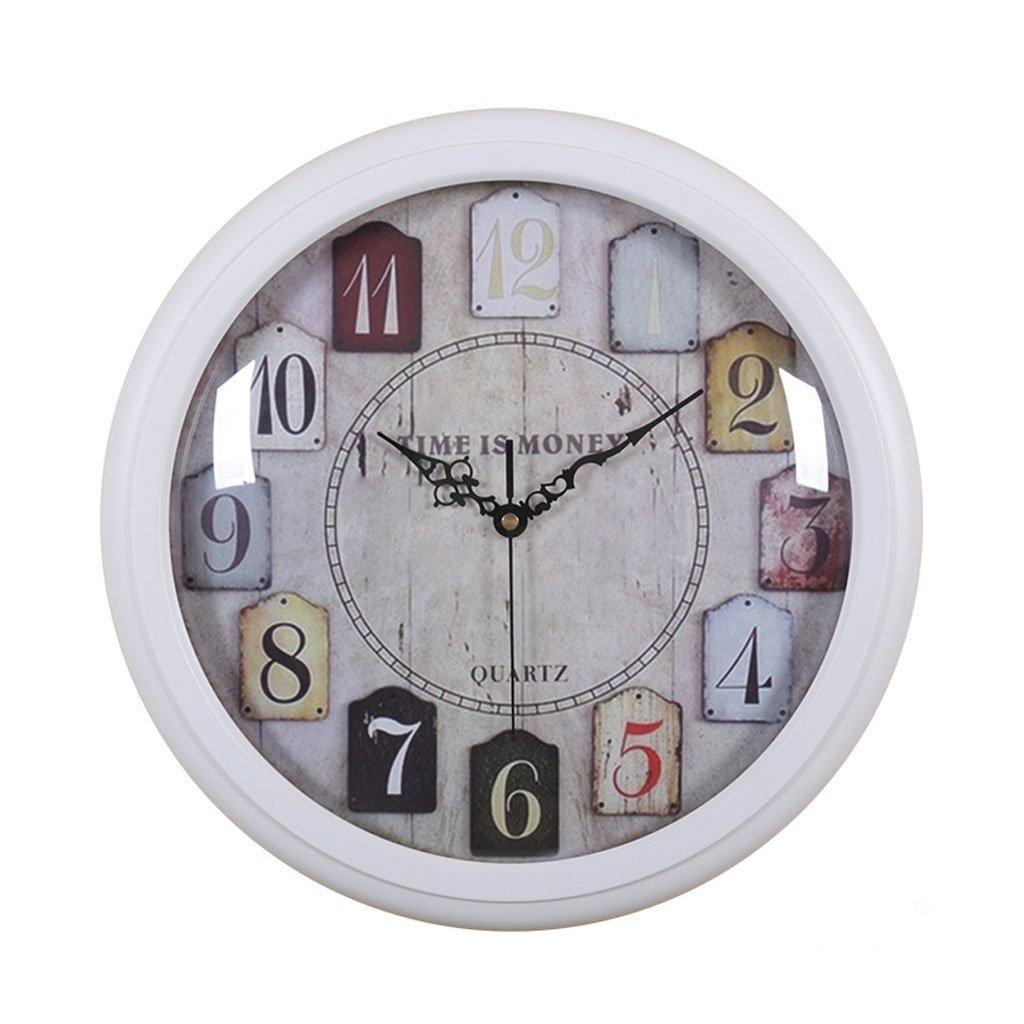ヨーロッパの木製の片面円形リビングルームベッドルーム静かな壁時計 (色 : 白) B07DP31NKM 白 白