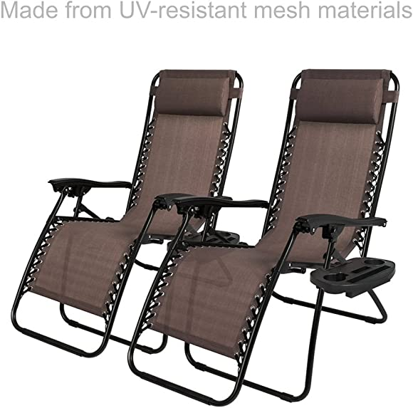 New Modern Zero Gravity Chair Outdoor Patio Adjustable Recliner Comfortable Adjustable Padded Headrests W Cup Holder – Set of 2 Brown 1904