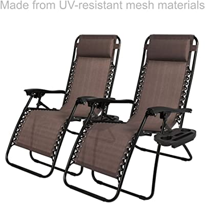 New Modern Zero Gravity Chair Outdoor Patio Adjustable Recliner Comfortable Adjustable Padded Headrests W/Cup Holder - Set of 2 Brown #1904