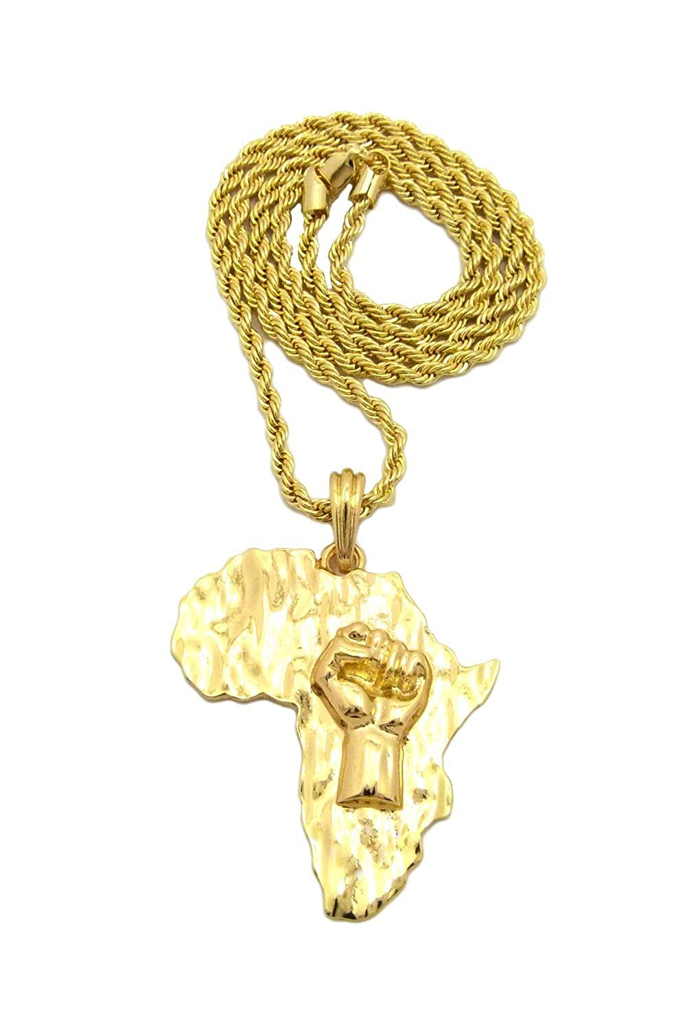 "Raising Fist Power in Africa Map Shape Pendant 24"", 30"" Various Chain Necklace Gold Tone"