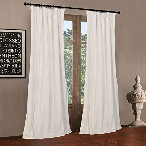 52″ W x 108″ L set of 2 Panels Pinch Pleat 90 White Lining Blackout Velvet Solid Curtain Thermal Insulated Patio Door Curtain Panel Drape For Traverse Rod and Track