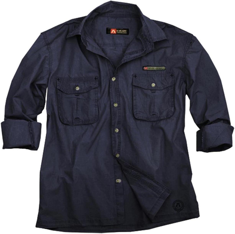 Hombre Safari Outdoor de camisa en beige y azul, manga larga camiseta de Cacatúa Australia, hombre, color azul, tamaño extra-small: Amazon.es: Deportes y aire libre