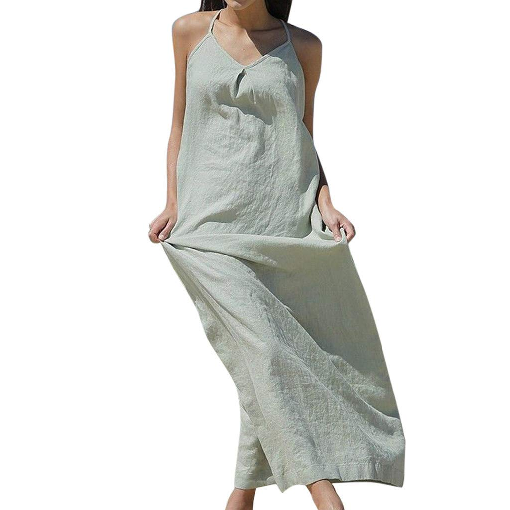 Women Spaghetti Strappy Sleeveless Maxi Dress V Neck Pockets Loose Casual Summer Beach Long Dress Sundress Green