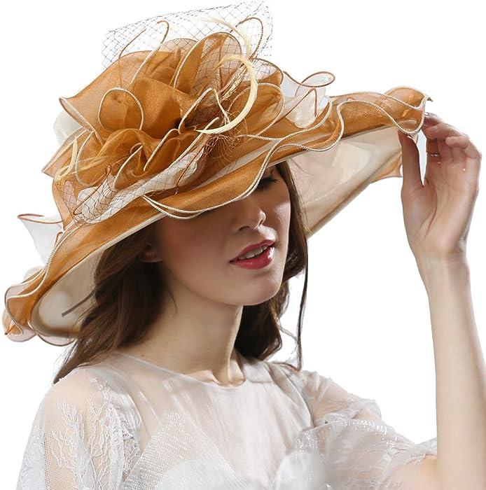58ba6c45514c3 ... Wedding Tea Party Cap. Women Lightweight Wide Brim Ruffle Floppy Sun Hat  - Kentucky Derby Hat - Church Hat -