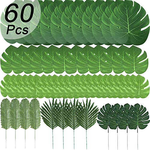 T-Antrix 60 Pcs 6 Kinds Artificial Palm Leaves Tropical Plant Safari Leaves Faux Monstera Leaves Stems for Hawaiian Luau Party Decorations, Tiki Aloha Jungle Beach Theme Party Table Leave Decorations -