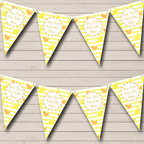 Yellow Orange Easter Chick Bunny Personalized Easter Party Bunting Banner