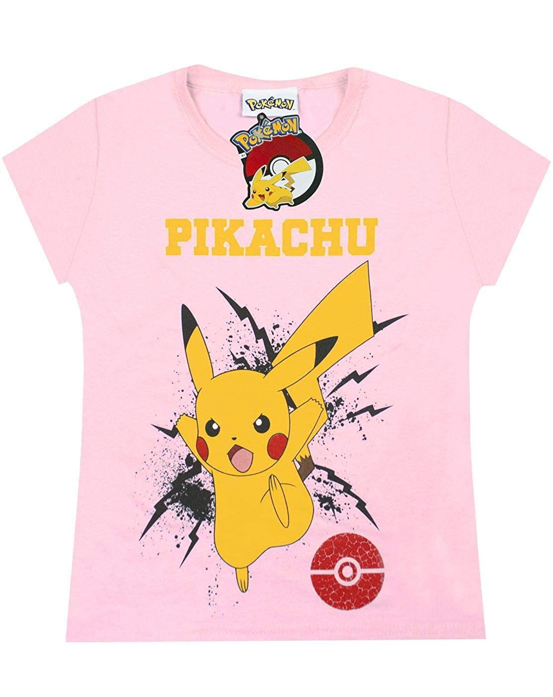 Pokemon Pikachu Bolt Girls T-Shirt Pink 5-6 Years
